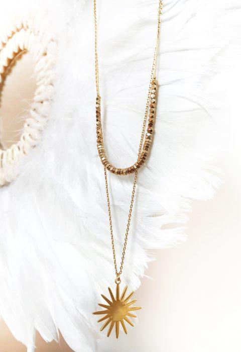 collier,multirangs,susanna,lespiplettes,bijoux,laiton,perles,soleil