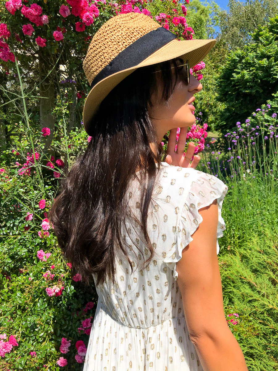 robe blanche longue pois or boutique les piplettes
