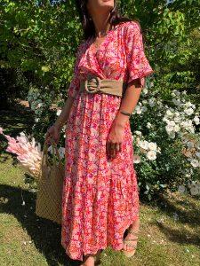 robe longue fleurie dos nu boutique les piplettes
