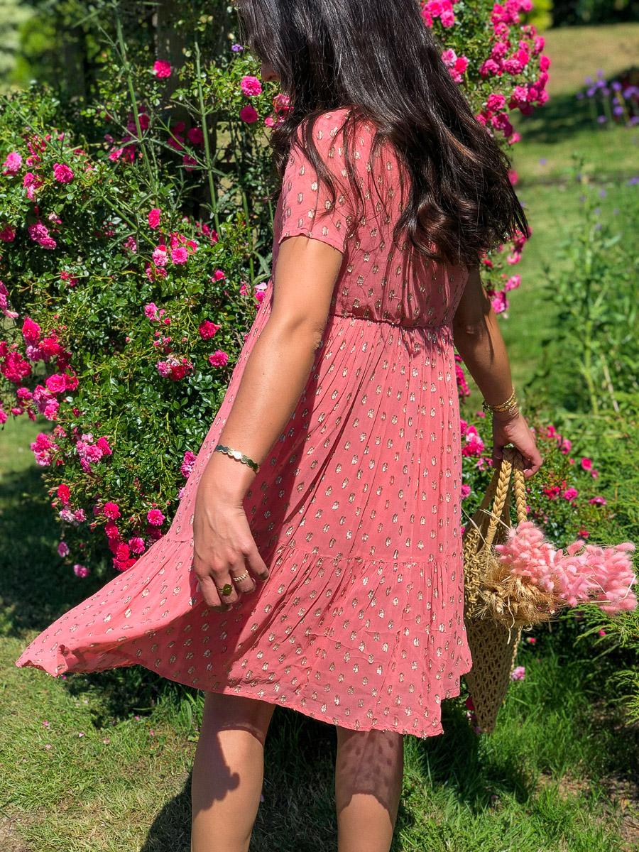 robe rose courte pois or boutique les piplettes
